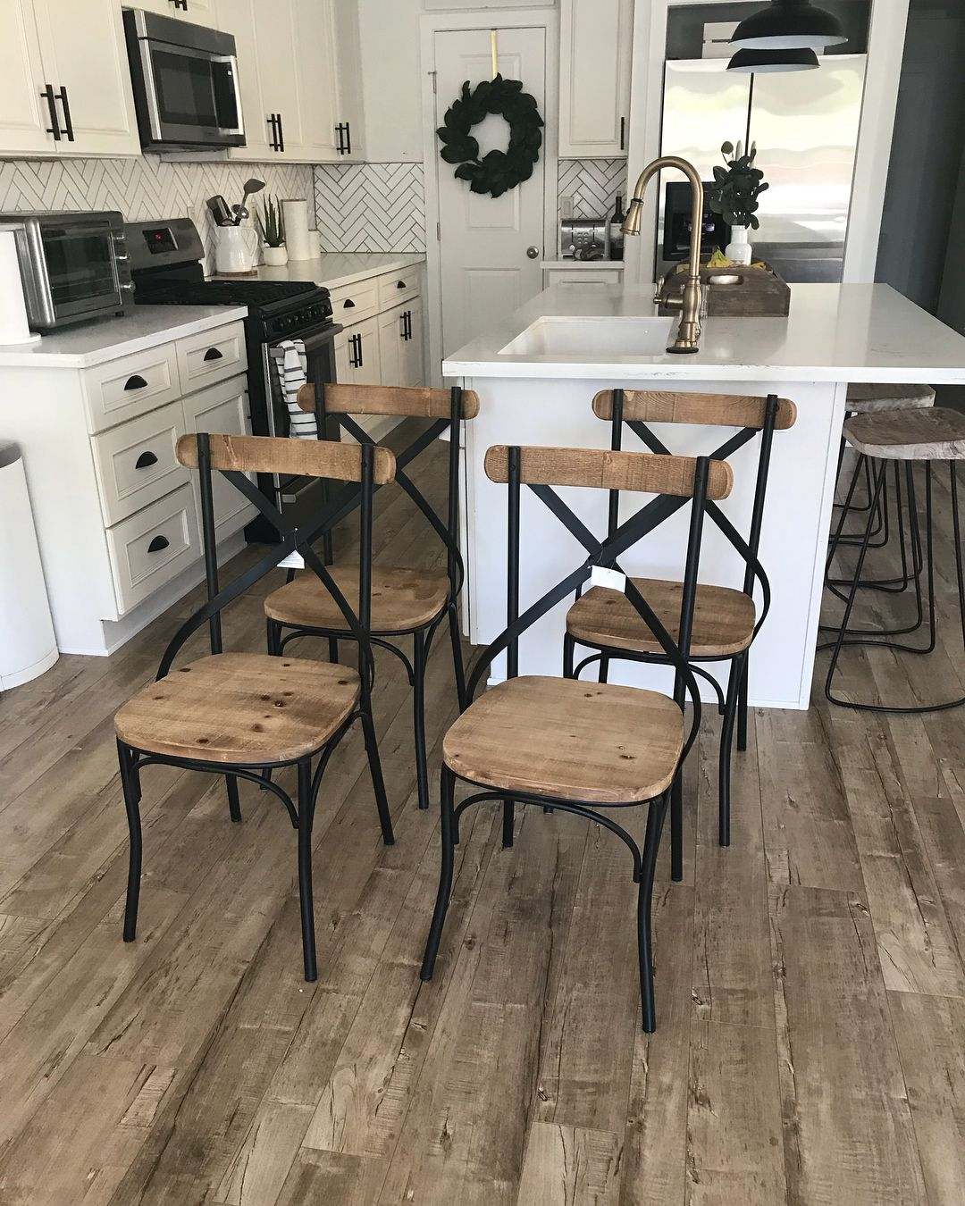 Brown and black brand new rustic farmhouse dining chairs