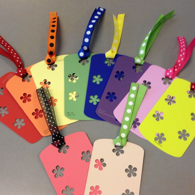 Spring bookmarks from paint samples for my class  (image