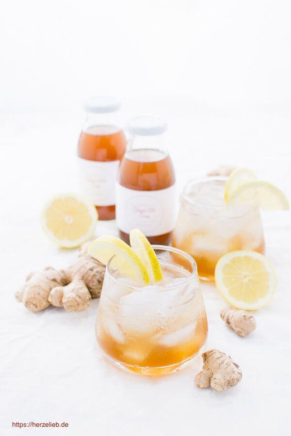Sirup Rezepte, Getränke Rezepte: Ginger Ale selber machen, mit diesem Rezept kannst du einen leckeren Sirup zubereiten. Alkoholfrei,  mit frischem Ingwer, ohne Konservierungsstoffe und haltbar. #rezept #drink #selbermachen #alkoholfrei #ingwer #getränk #limonade #sommer