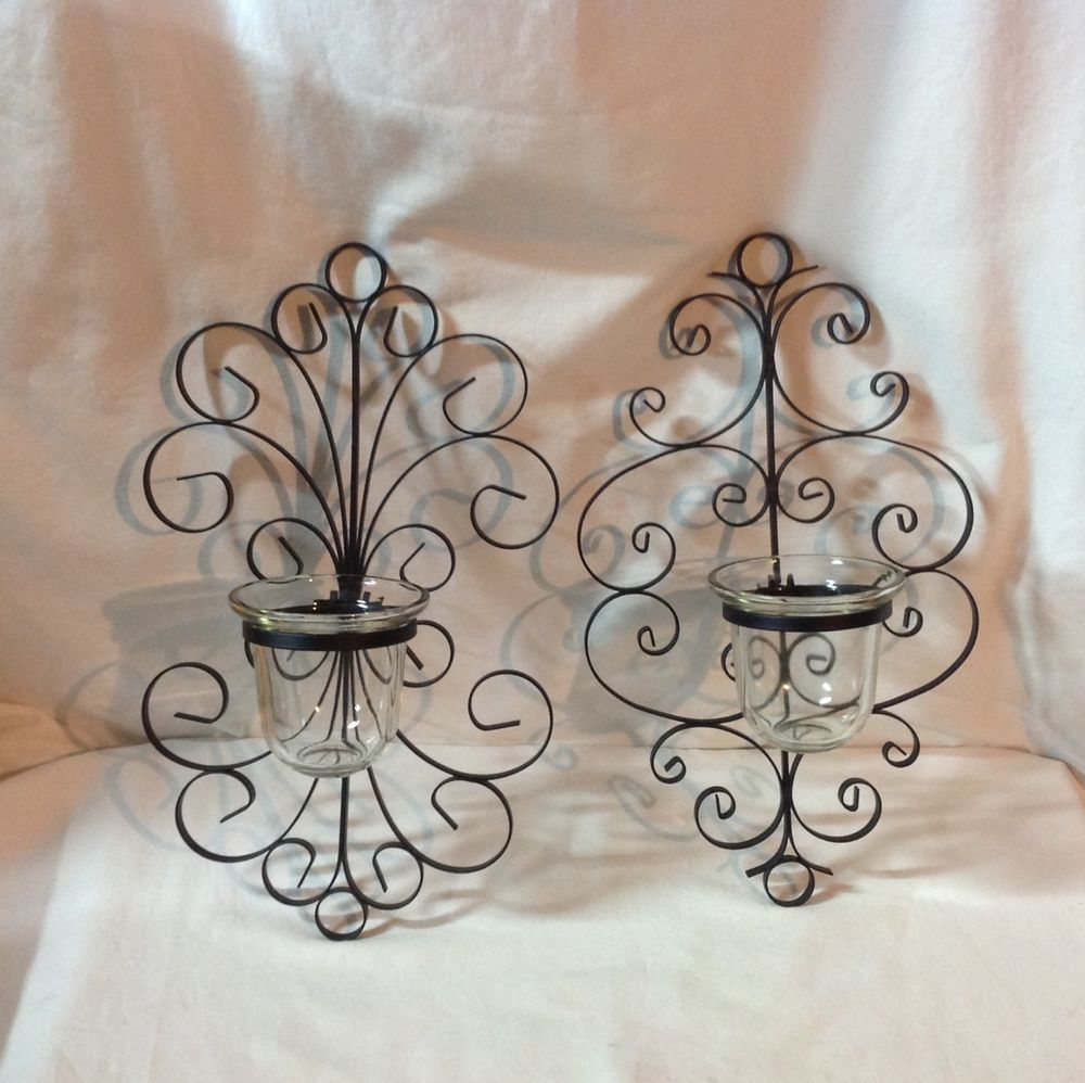 Two Metal Scroll Indoor Outdoor Wall Sconce Votive Candle Holder #GardenGateDesigns & Two Metal Scroll Indoor Outdoor Wall Sconce Votive Candle Holder ...