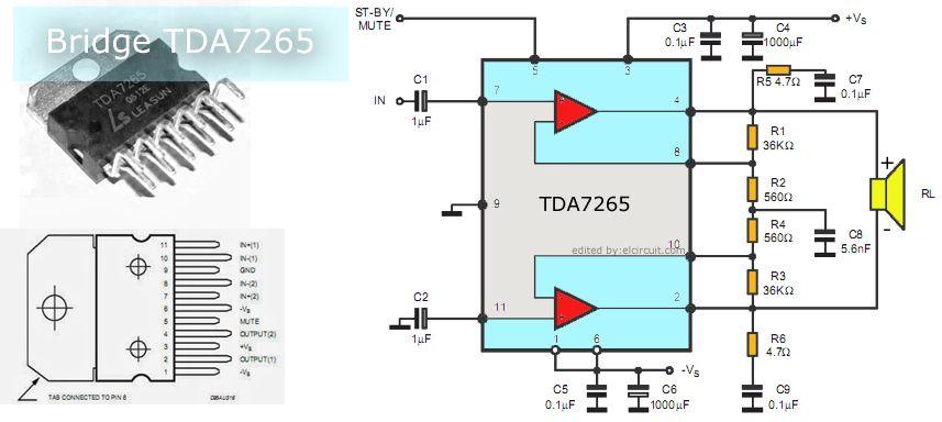 Btl Power Amplifier Circuit Using Ic Tda7265 Arduino Pinterest
