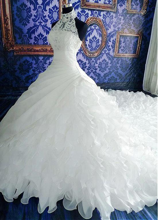 Luxurious Organza & Satin High Collar Neckline Ruffled Ball Gown Wedding…
