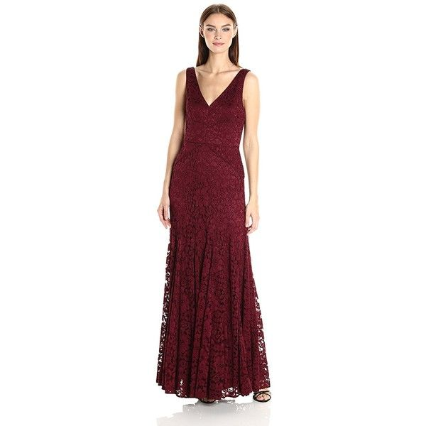 Vera Wang Women\'s Lace Gown with Vneck ($322) ❤ liked on Polyvore ...
