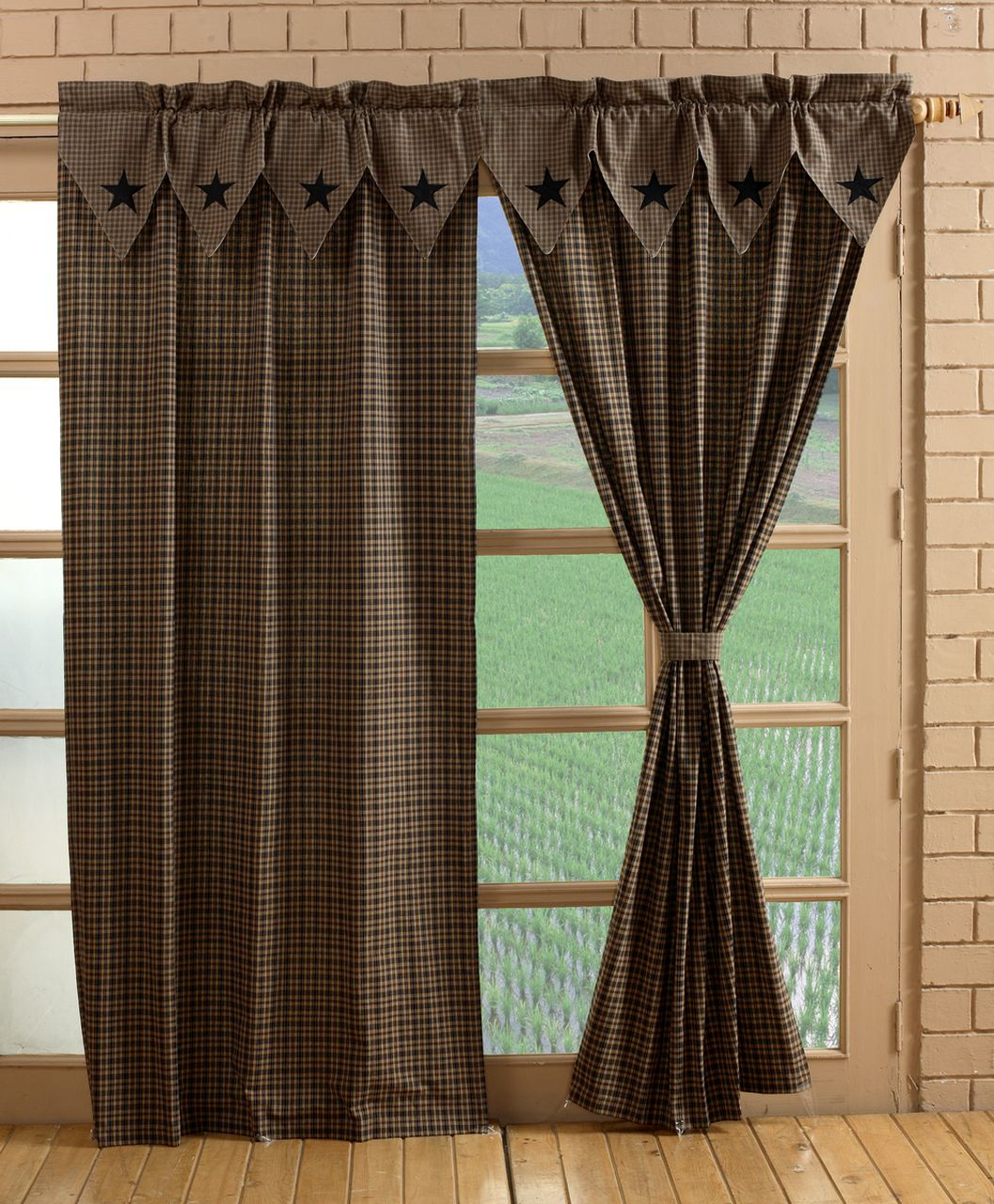 Vintage Star Black Tan Panel Pair Curtains In 2020 Country Curtains Primitive Decorating Country Primitive Curtains