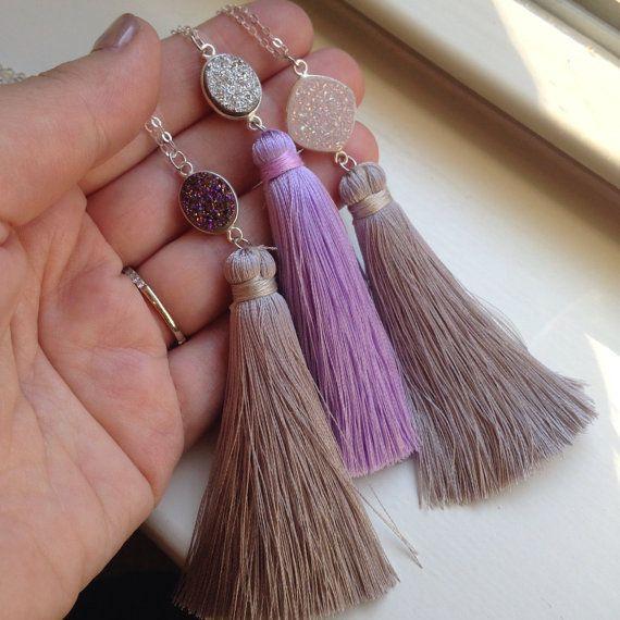 Collares de plata Druzy de la borla  púrpura gris joyería