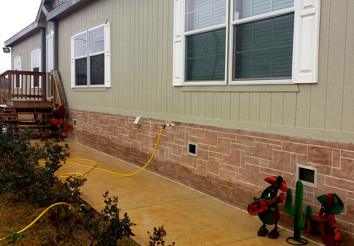 Faux Stone Skirting Mobile Home With Brick Stone Mobile