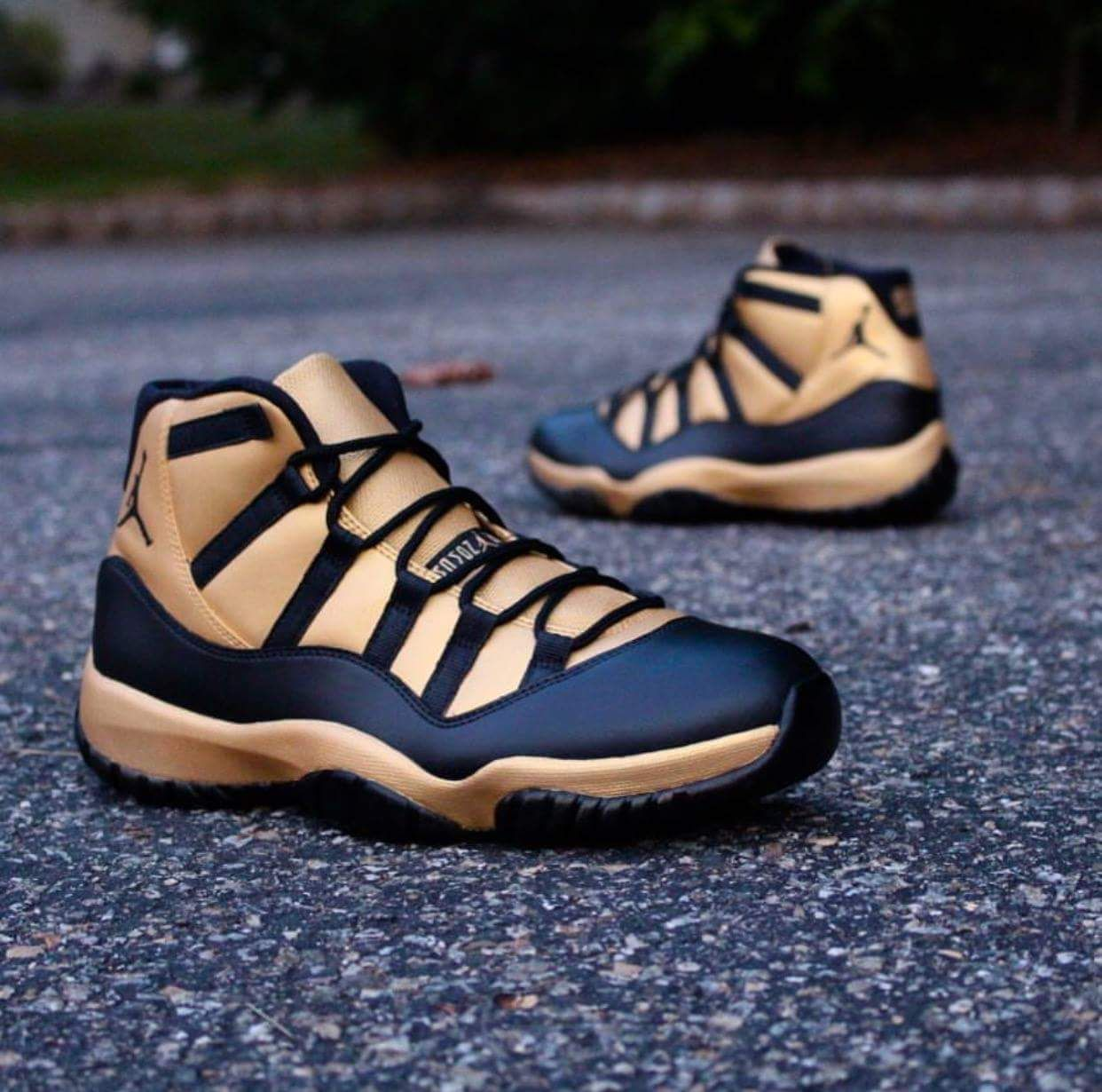 c8a3951696e3 Air jordan 11 custom black gold