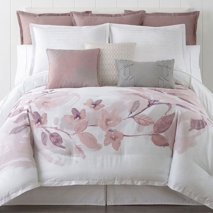 Floral Bedspreads And Comforters.Liz Claiborne Blush Floral 4 Pc Floral Comforter Set In
