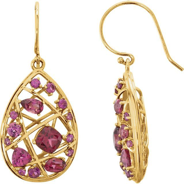 14k Yellow Gold Rhodolite Garnet Earrings