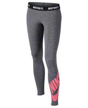 new design classic shoes great fit Nike Logo Graphic Leggings, Big Girls (7-16) - Gray XL ...