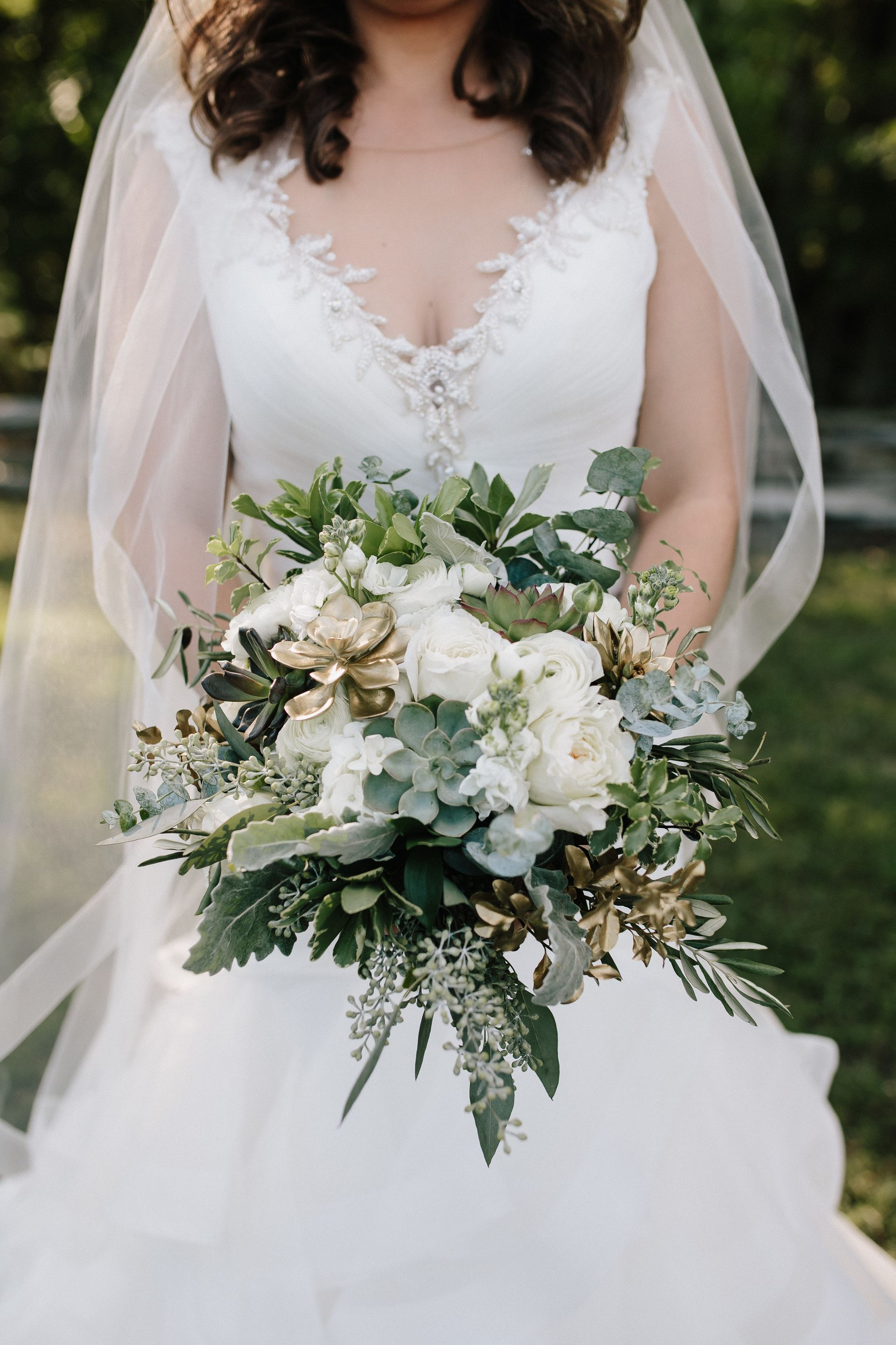 Natural Wedding Bouquet Succulents Gold Painted Leaves White