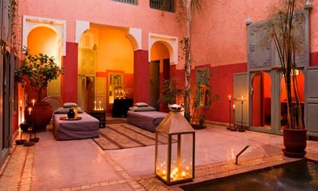 the courtyard of an atmospheric riad in Marrakech