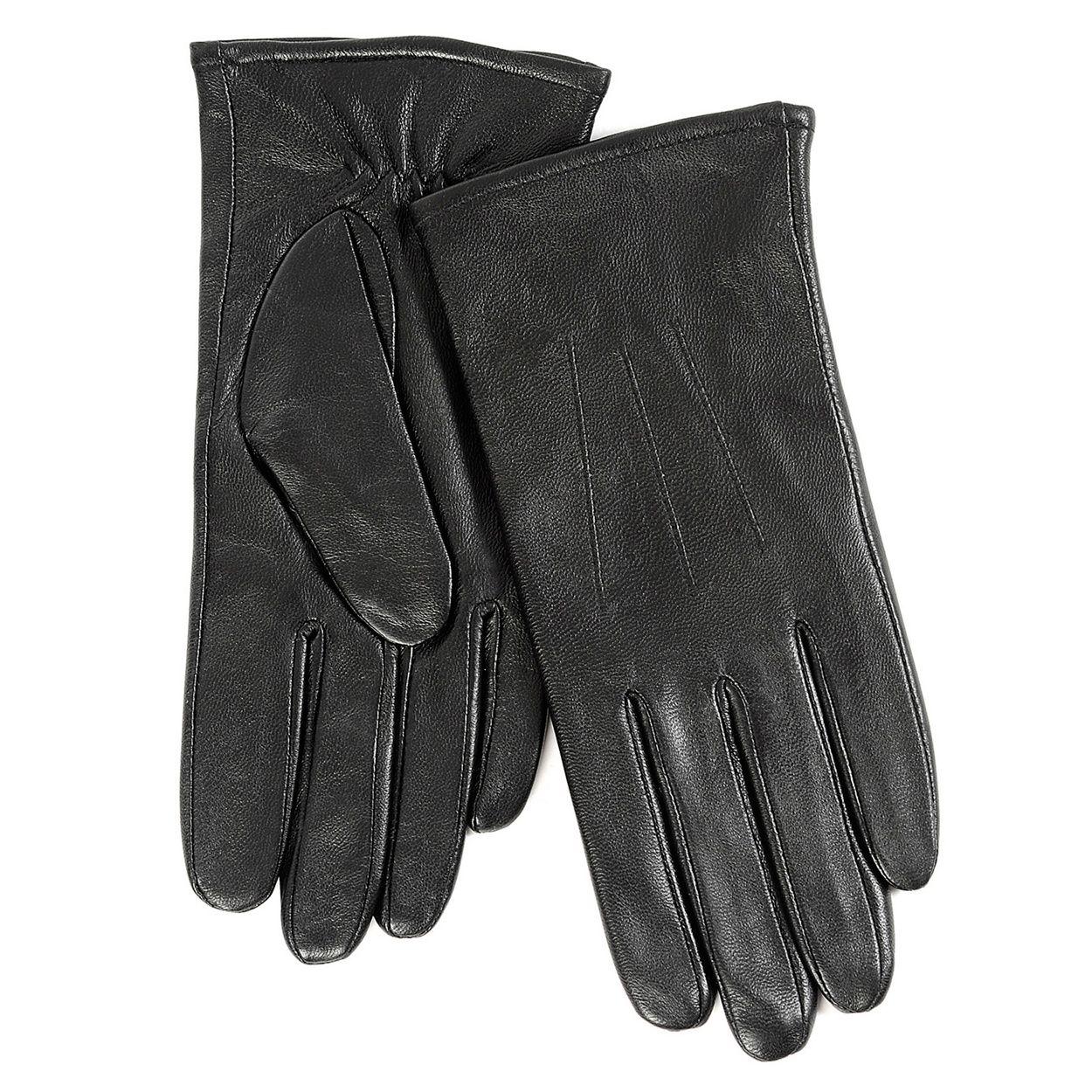 Ladies leather gloves isotoner - Isotoner Ladies Black 3 Point Leather Glove