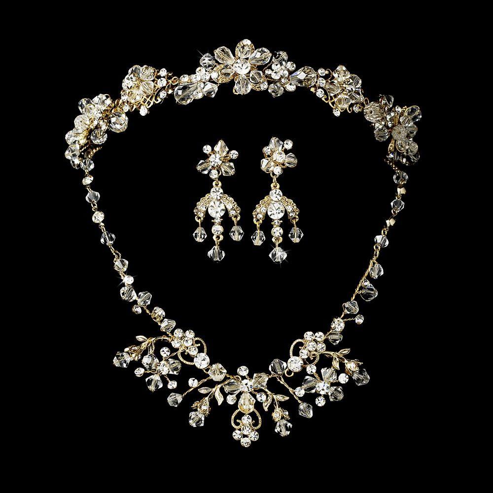 Swarovski Crystal Bridal Necklace Earring & Tiara Set