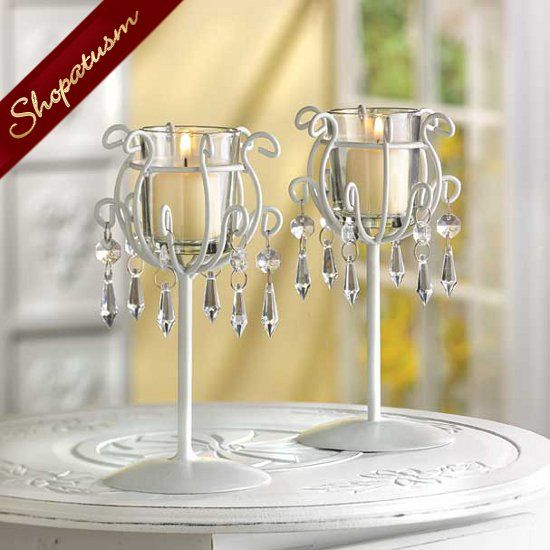 10 Crystal Drops Candle Holders Wedding Centerpieces Bulk