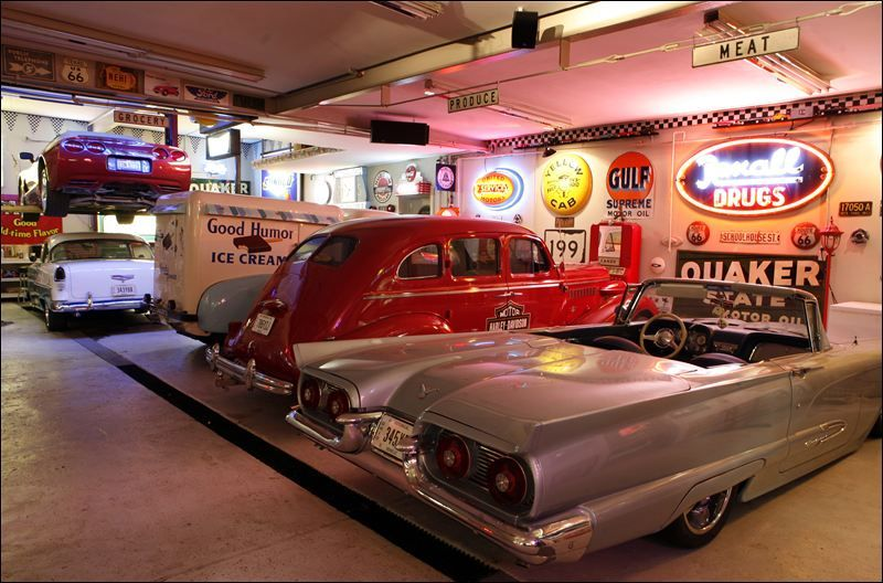 Hot Rod Garage Complete With A Good Humor Ice Cream Truck