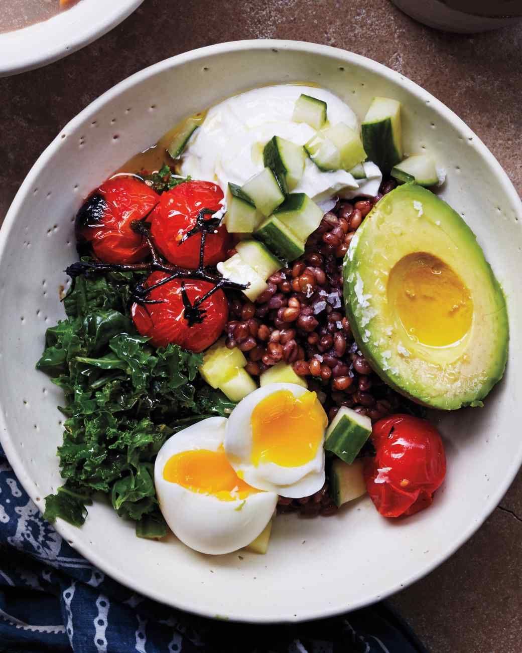 Savory Breakfast Bowl (kale, cherry tomatoes, eggs, avocado, barley)