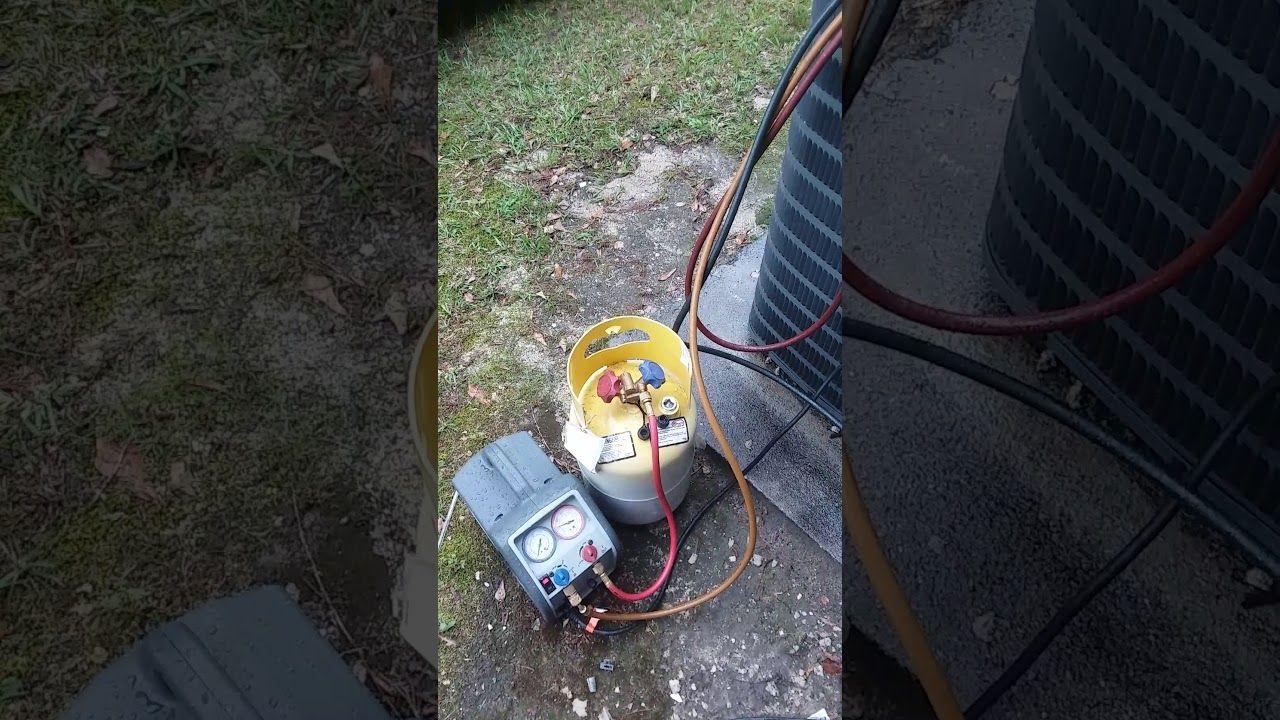 Vacuuming down hvac with recovery machine Hvac repair