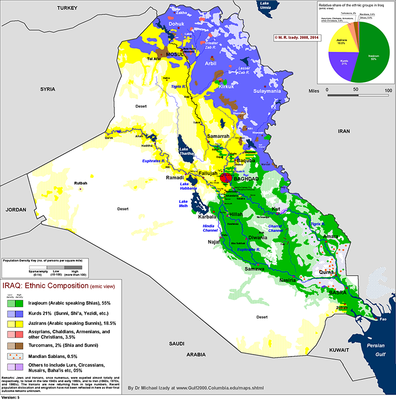 Map of Iraq\'s ethnic composition. | Maps of the Middle East & North ...