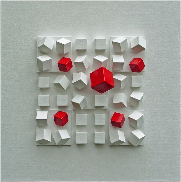 CUBOS EM QUADRADOS II  (Cubes into squares II) by Ivonesio Ramos. I bought this for my dad in Rio in 2008 and I just found the artist online. I love you internet.