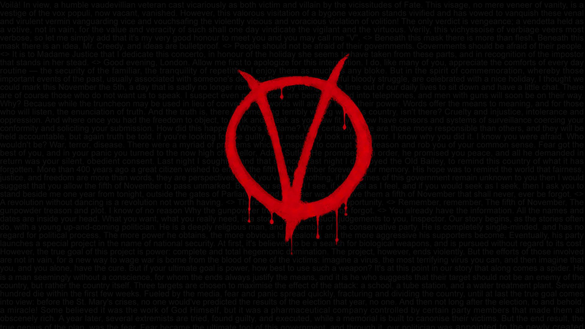V For Vendetta Remember Rhyme Stretched Canvas ~ More Size