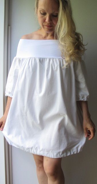 DIY Off-the-Shoulder Dress made of upcycled old bed sheet. Full tutorial on the blog