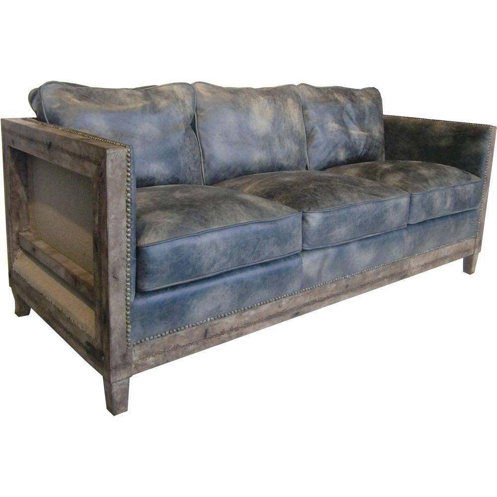 Aurelle Home Monarchy Antique Rustic Distressed Leather Sofa Light Brown Foam
