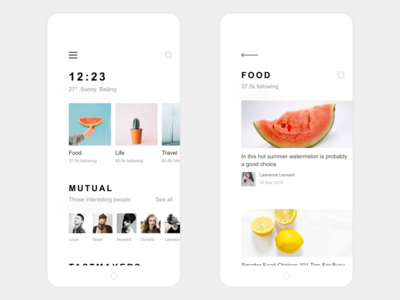 my life app design find food list