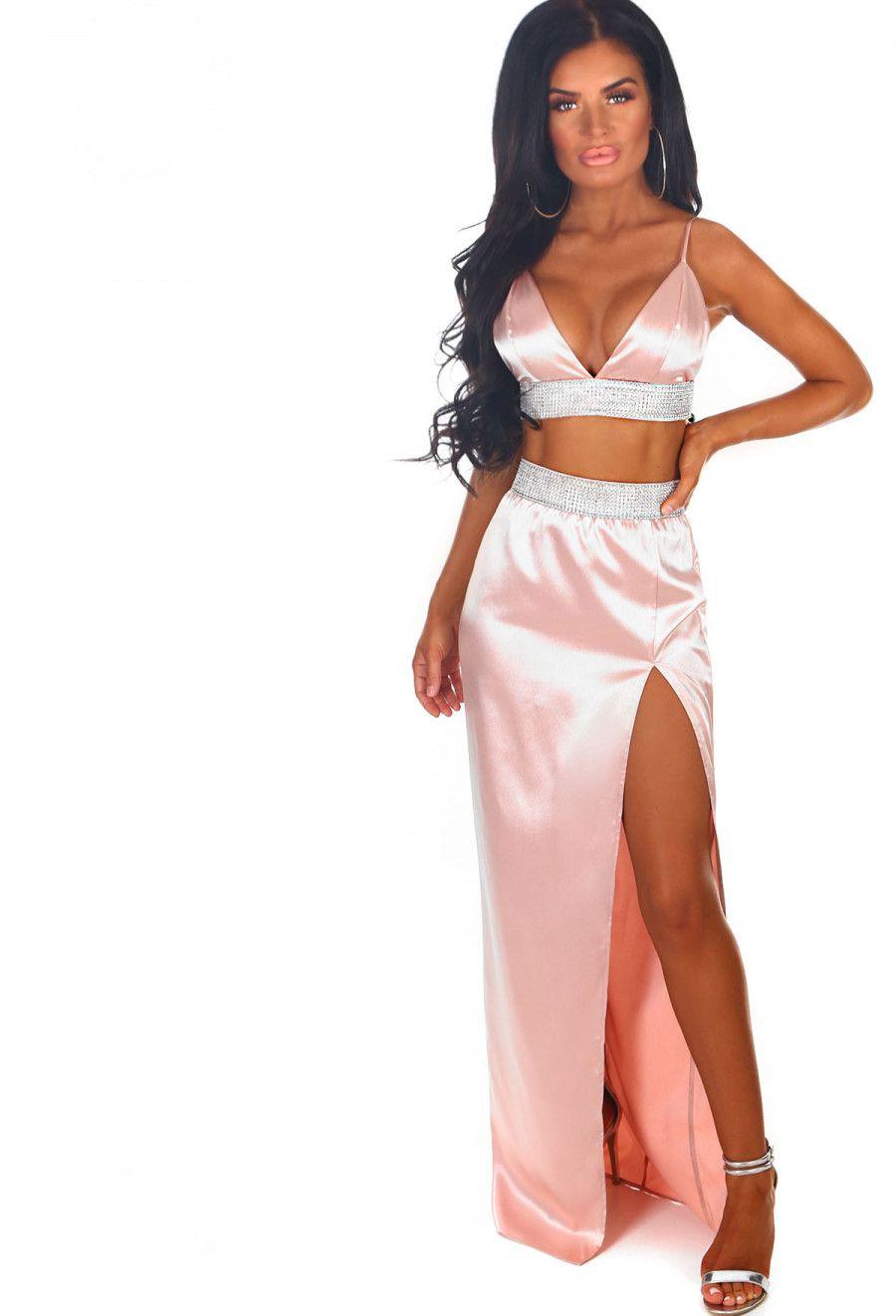 3882eda192 Frosted Diamond Pink Satin Diamante Trim Split Maxi Skirt | Pink Boutique