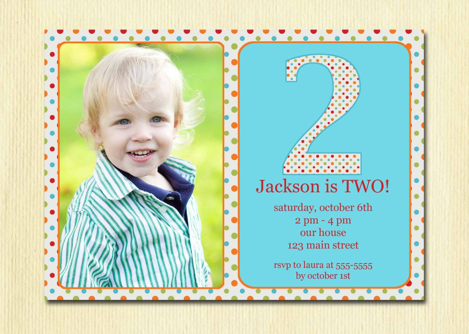 Polka Dots Birthday Invitation - diy printable invites  5 year