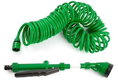 Coiled Garden Hoses Quick Connect No Kinks Extends To Fifty