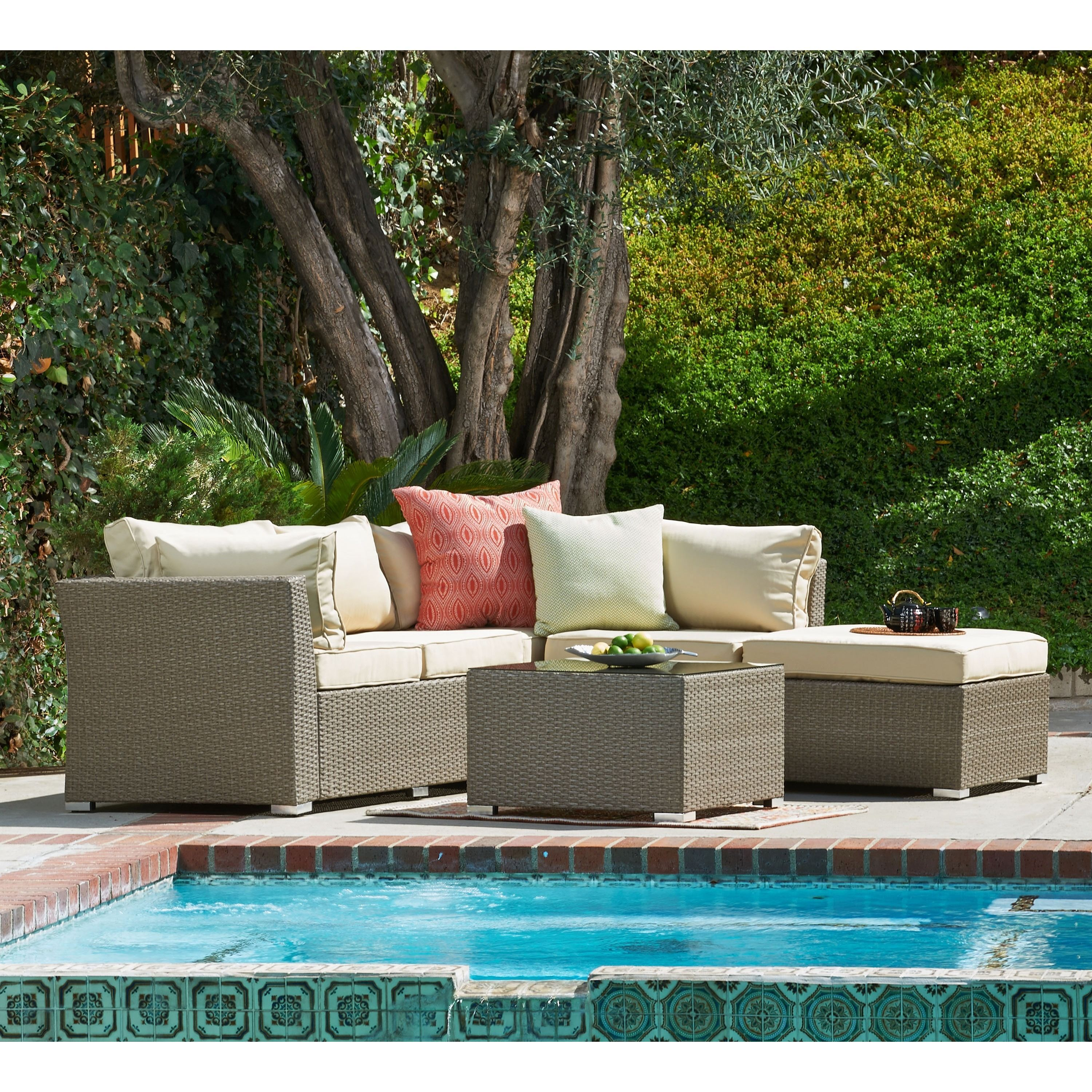 the Hom Jicaro 5 piece Outdoor Wicker Sectional Sofa Set by THY