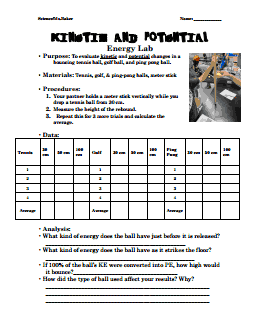 kinetic and potential energy worksheet pdf answers