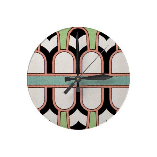 Vintage Assyrian Art Deco Geometric Pattern Mint Wallclock