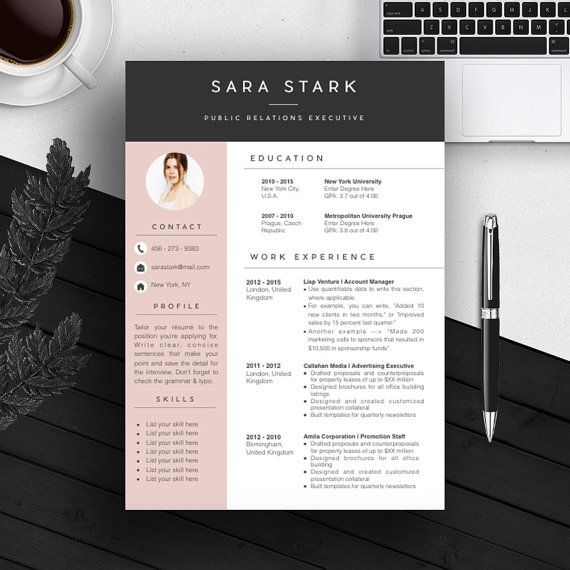pink creative resume template cv template cover letter for ms word iwork