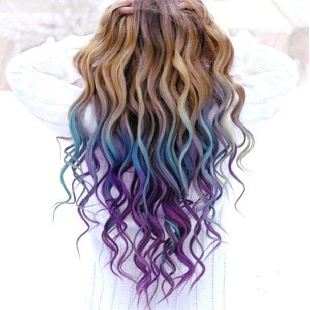 Light Brown Hair With Purple Dip Dye Chalk And Dip Dye Hair Met