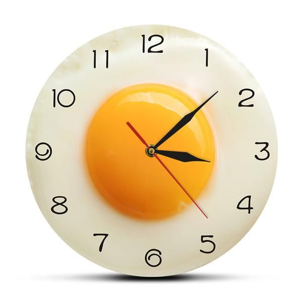Sunny Side Up Fried Egg Kitchen Wall Clock 3d Flat Design Breakfast Food Wall Art Dining Room Interior Decor Silent Wall Watch In 2020 Kitchen Wall Clocks Food Wall Art Wall Clock