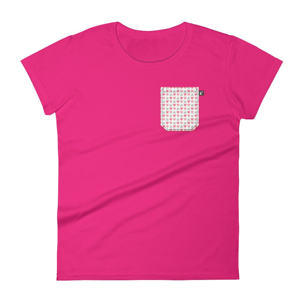 fb007ac939 Women s Heart Pocket T-Shirt in Hot Pink by Konfette Clothing - Limited  Edition designer