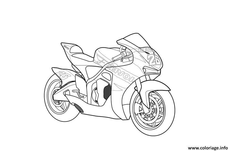 Coloriage Motocyclette 48 à Imprimer Arts Appliquée En