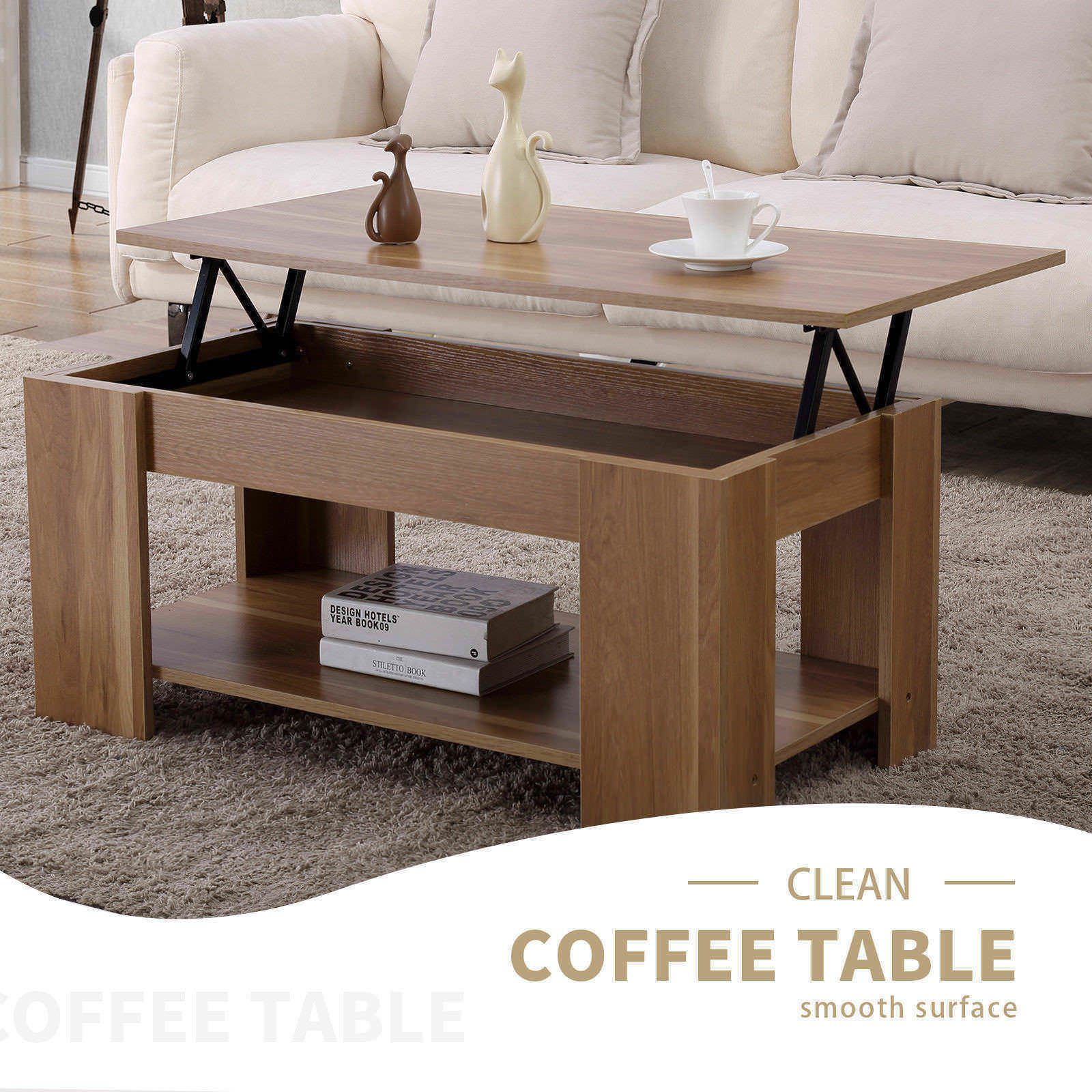 Modern brown wood lift top coffee table living room furniture with