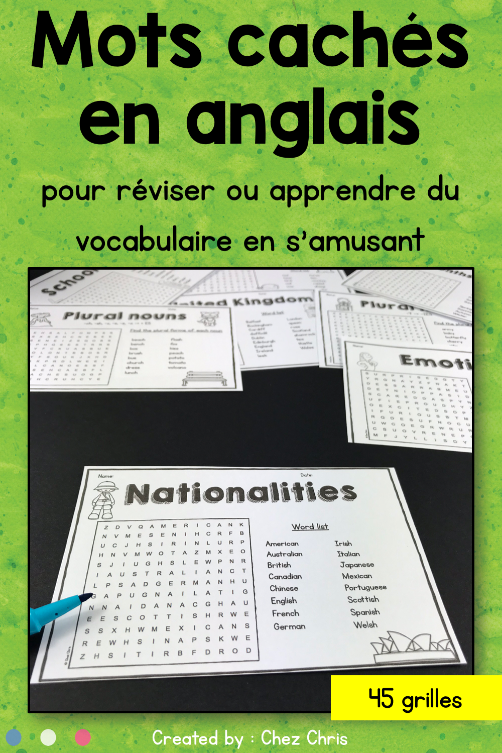 Word Search Activity Chez Chris Resources Esl Teaching Resources Grammar Resources Language Resources