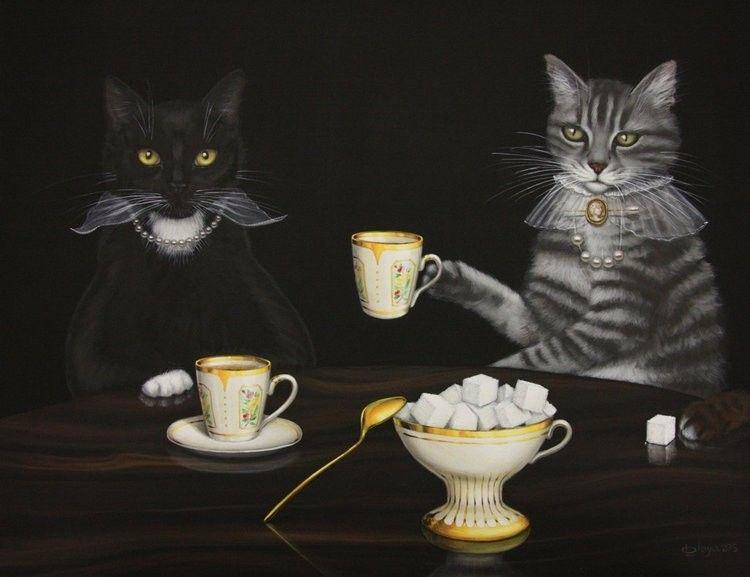 Февраля для, открытка добрый вечер с кошкой