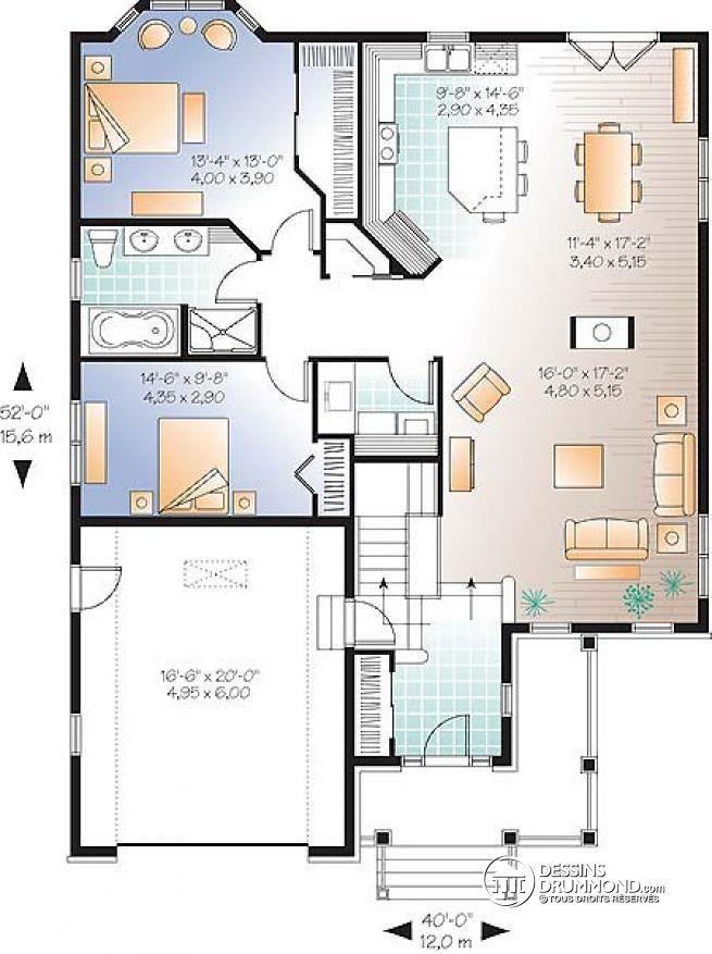plan de maison 52 m