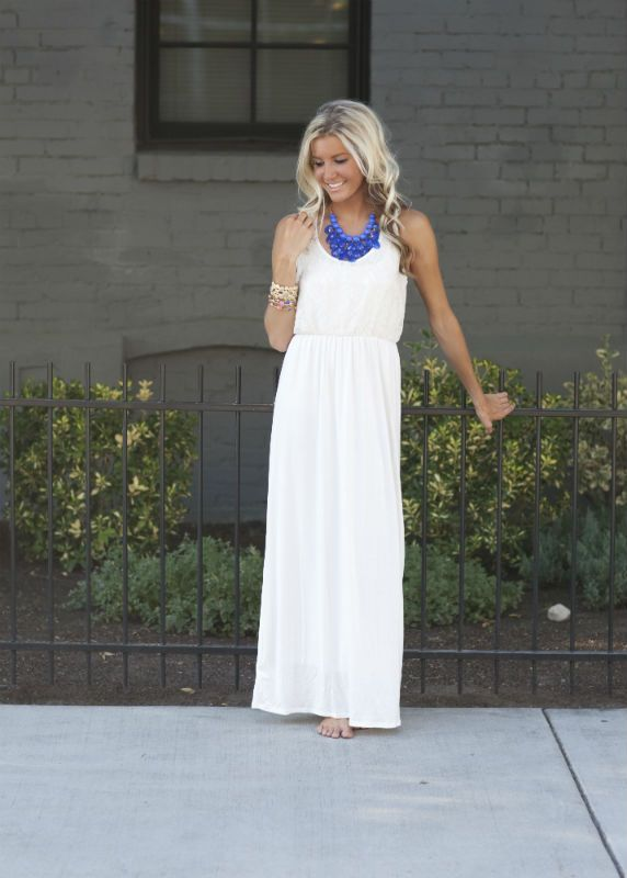 White Girly Lace Top Maxi Dress-