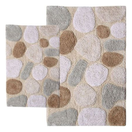 2 Piece Pebbles Bath Rugs Looks Like Stepping Stones At A