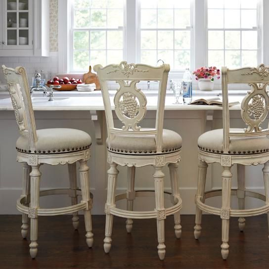 French Kitchen Stools: Provencal Grapes Swivel Bar And Counter Stools