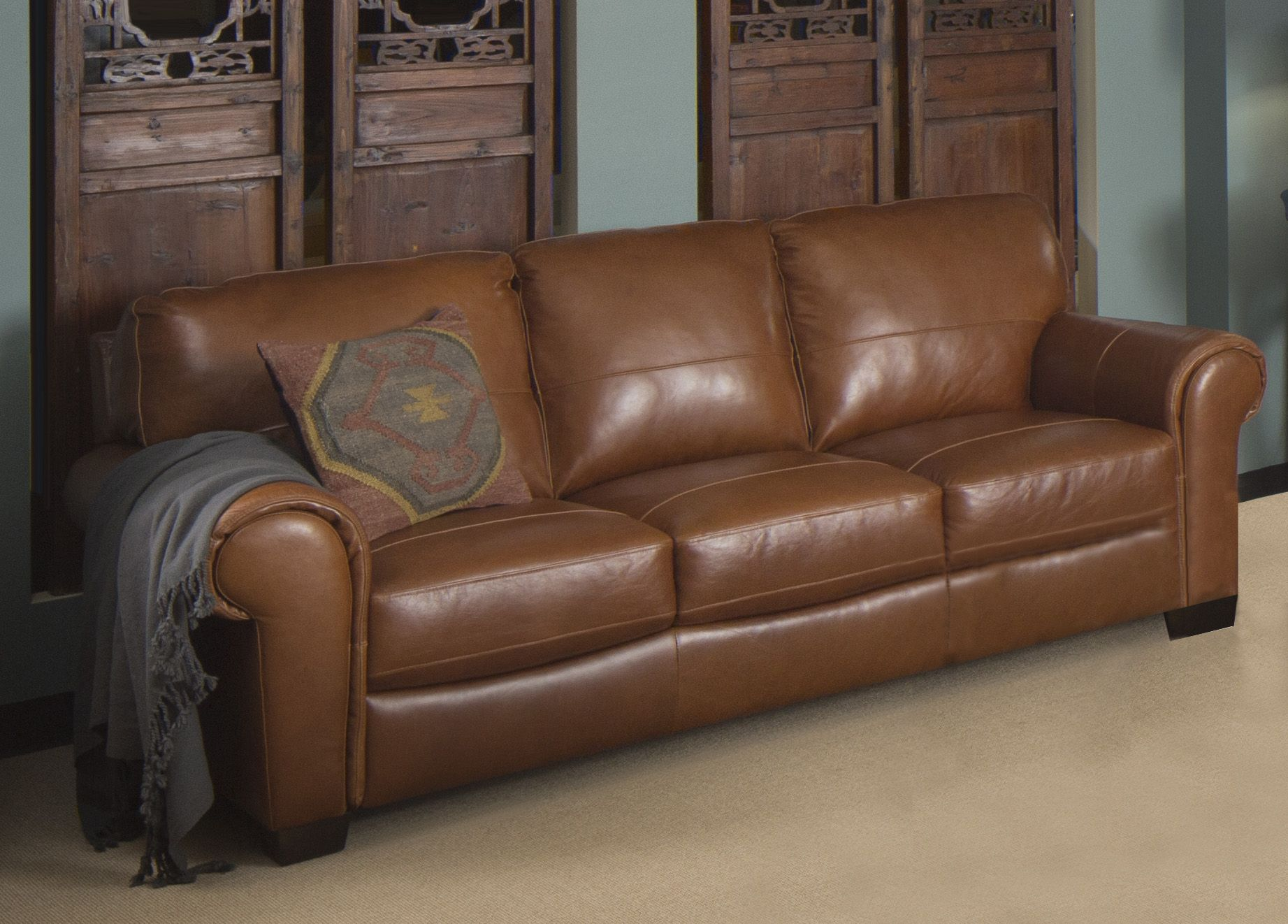Leather Lounge Bristol 3 Seater Leather Lounge In Whisky Colour Dining Living