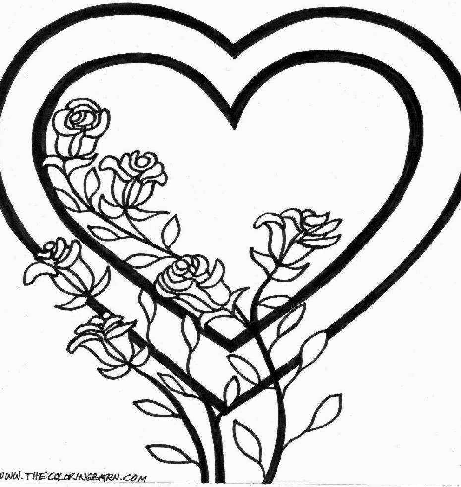 images coloring pages for girls flowers roses page 6 hearts and - Coloring Pages Hearts Flowers