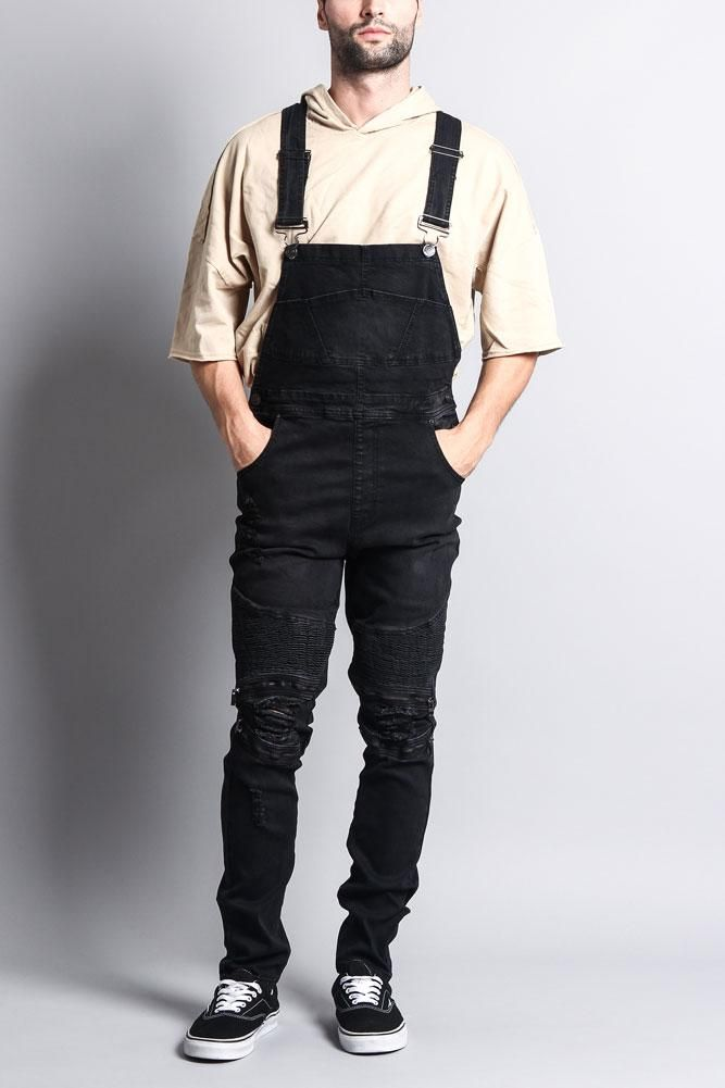 91760d012178 Awesome looking men s outfits 50051. A pair of denim overalls featuring  moto ribbed paneling on the front