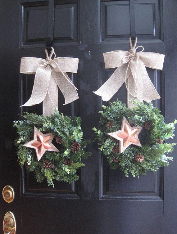 Double Door Wreaths Christmas Wreaths Neutral Winter DOOR WREATHS